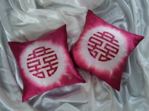 Double Happiness cushions as a wedding gift